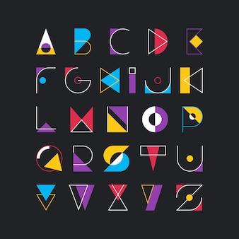 Fonte latina geométrica, tipo decorativo gráfico pop art.