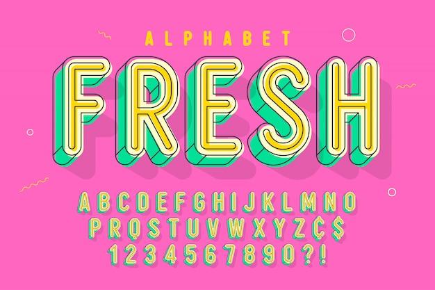 Fonte linear cômica, alfabeto colorido, tipo de letra