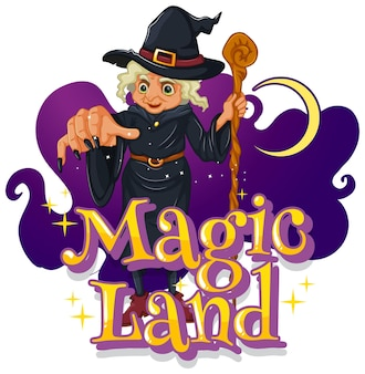 Fonte magic land com um personagem de desenho animado de bruxa