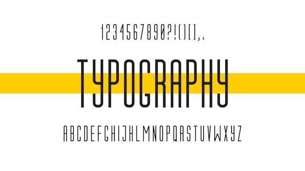 Fonte moderna criativa. letras do alfabeto e números. ilustração vetorial