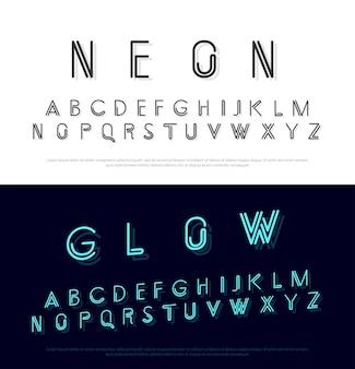 Fonte moderna de néon e estilo minimalista de alfabeto
