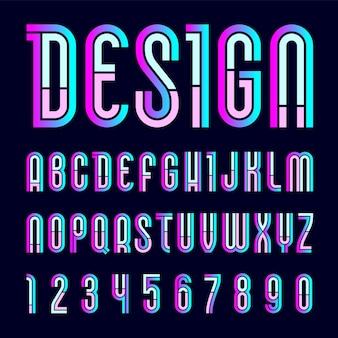 Fonte moderna. novo alfabeto, letras coloridas para você projetar
