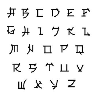 Fonte no estilo japão, tipo asiático de vetor. estilo japonês abc, ilustração de letras do alfabeto