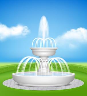 Fonte no jardim. salpicos de jato de água spray na grama decorativa de fundo de vetor de fontes realistas ao ar livre. arquitetura de fonte de ilustração para projeto de parque ao ar livre ou jardim