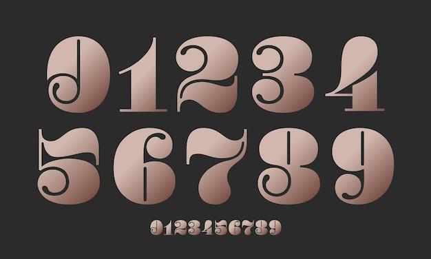 Fonte numérica. fonte de números no estilo didot ou didone francês clássico com desenho geométrico contemporâneo. numerais bonitos e elegantes. tipográfico retro vintage e da velha escola. ilustração vetorial