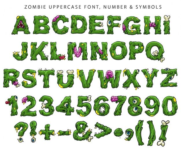 Fonte, números e símbolos maiúsculos de zumbi