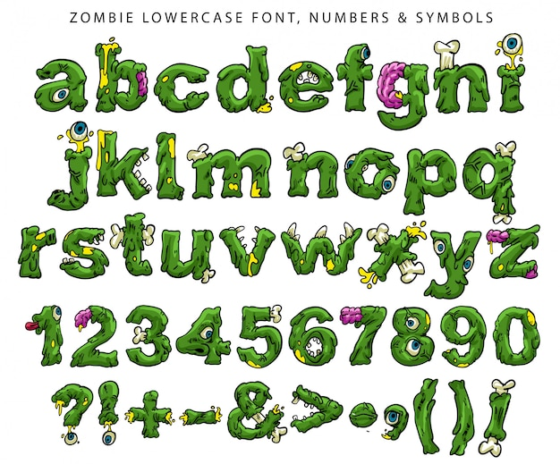 Fonte, números e símbolos minúsculos de zumbi