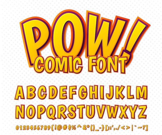 Fonte сomic, alfabeto no estilo do livro de quadrinhos, pop art. letras e números alaranjados engraçados multicamadas