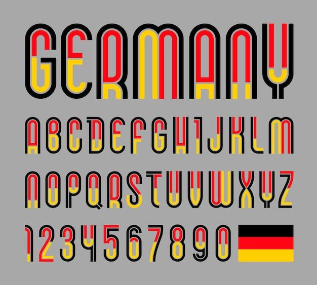 Fonte ou alfabeto com bandeira da alemanha