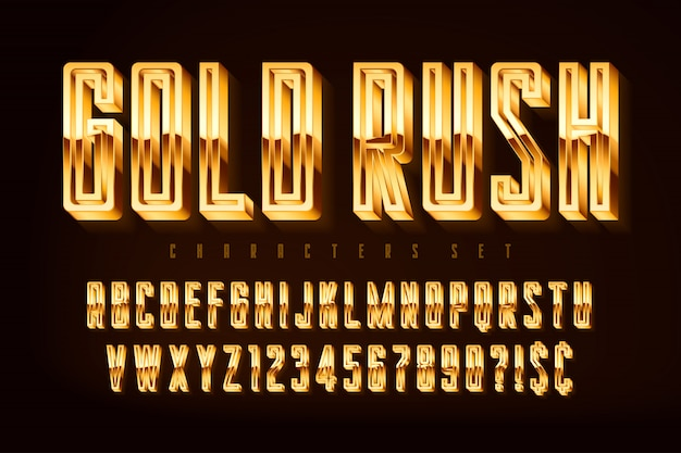 Fonte polida 3d dourada, letras e números de ouro