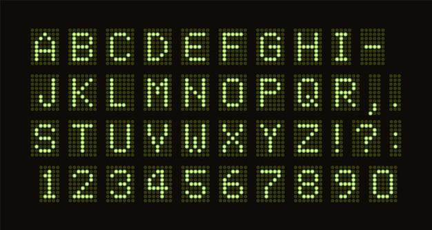 Fonte pontilhada vetorial para conjunto de letras monoespaçadas verdes de mesa digital led de círculos de luz verde