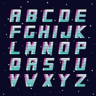 Fonte retro da moda anos 8090 alfabeto inglês de vetor letras latinas futuristas