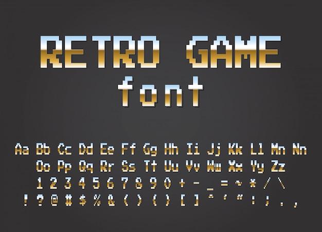 Fonte retrô de pixel design de jogos de computador de vídeo
