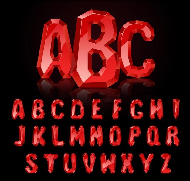 Fonte ruby. tesouros do alfabeto. letras de pedras preciosas