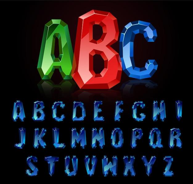 Fonte safira. tesouros do alfabeto. letras de pedras preciosas