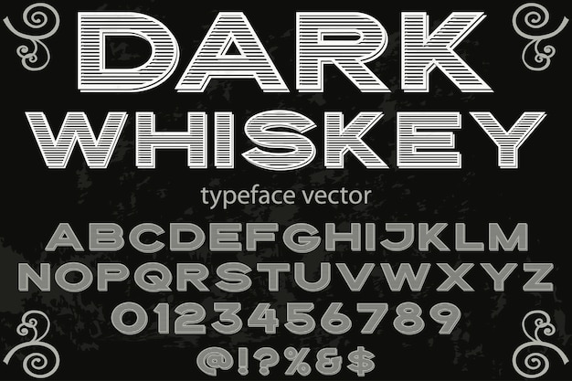 Fonte shadow effect design de rótulo whisky escuro
