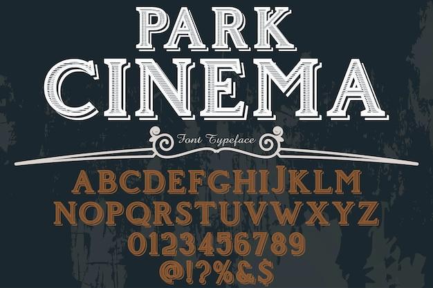Fonte tipo de letra, parque cinema