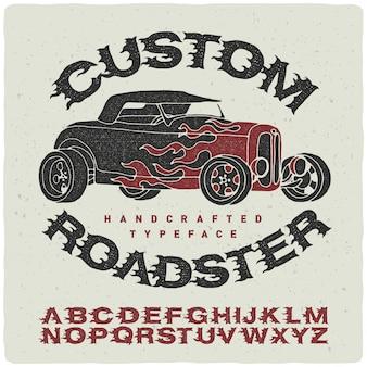 Fonte vintage conjunto com ilustração roadser