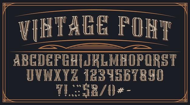 Fonte vintage decorativa no fundo escuro. perfeito para marcas, rótulos de álcool, logotipos, lojas e muitos outros usos.