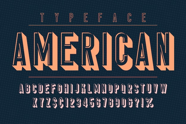 Fonte vintage na moda americana com alfabeto