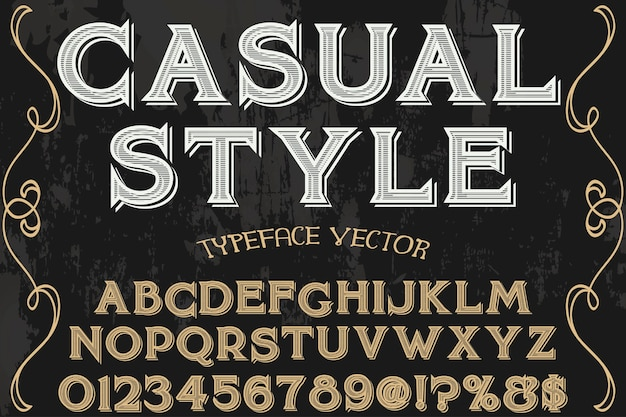 Fonte vintage tipografia fonte design estilo casual