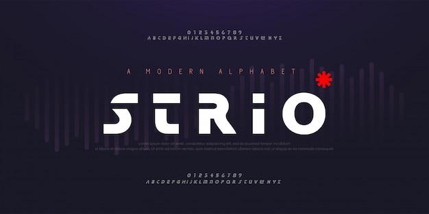 Fontes abstratas digitais modernas alfabeto. tipografia tecnologia mínima, moda, esporte, urbano, fonte e número de criativo do futuro.