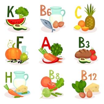 Fontes alimentares de diferentes vitaminas. tema de nutrição e dieta saudável. para cartaz infográfico ou aplicativo móvel