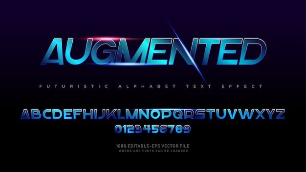 Fontes de alfabeto aumentadas futuristas modernas com efeito de texto