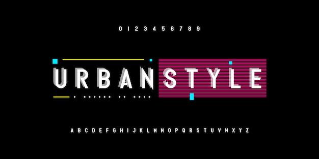 Fontes de alfabeto listrado estilo urbano abstrato