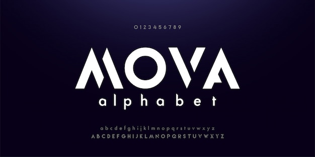 Fontes de alfabeto moderno de tecnologia digital abstrata