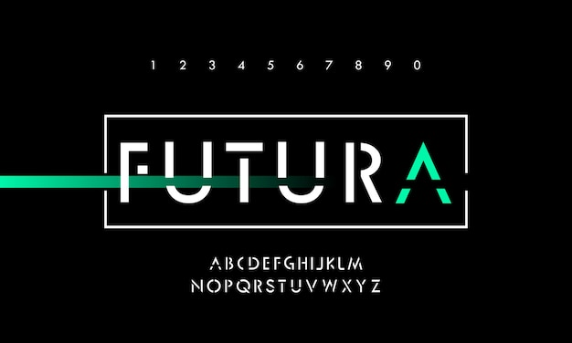 Fontes de alfabeto moderno de tecnologia digital
