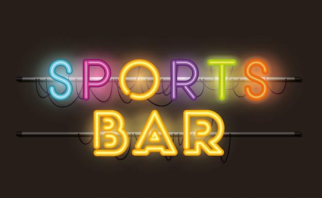 Fontes de bar de esportes luzes de néon