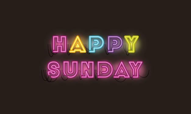 Fontes de domingo feliz luzes de néon