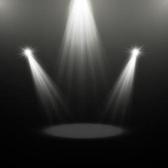 Fontes de luz, iluminação de concertos, holofotes. projetor de concerto com feixe, holofotes iluminados para ilustração design web.