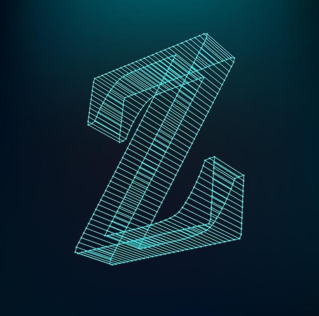 Fontes de malha poligonal. alfabetos de contorno de quadro de arame.
