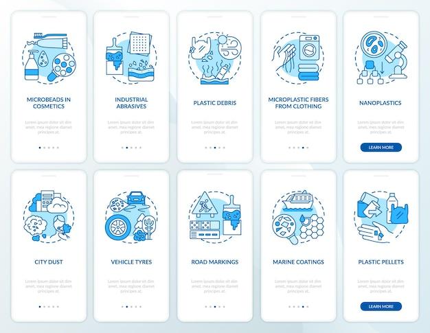 Fontes de microplásticos integrando a tela da página do aplicativo móvel com conceitos. fibras microplásticas de roupas com instruções gráficas de 10 etapas. modelo de interface do usuário com ilustrações coloridas rgb