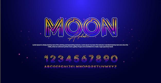 Fontes de número de alfabeto de tecnologia moderna
