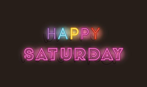 Fontes de sábado feliz luzes de néon