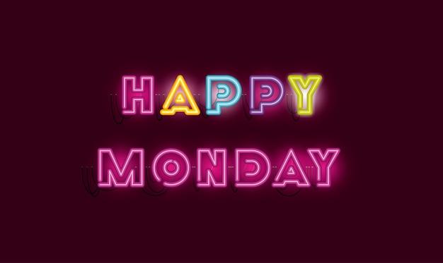 Fontes de segunda-feira feliz luzes de néon