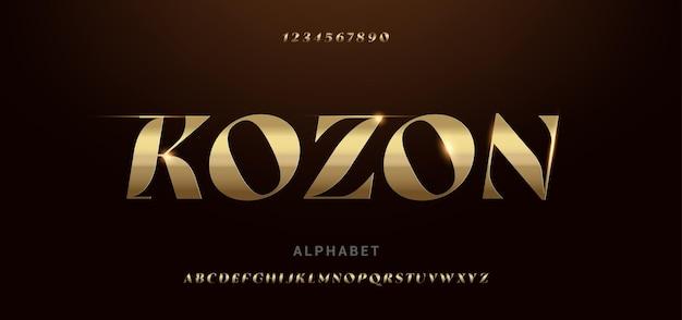Fontes de tipografia futurista do alfabeto dourado moderno e brilhante