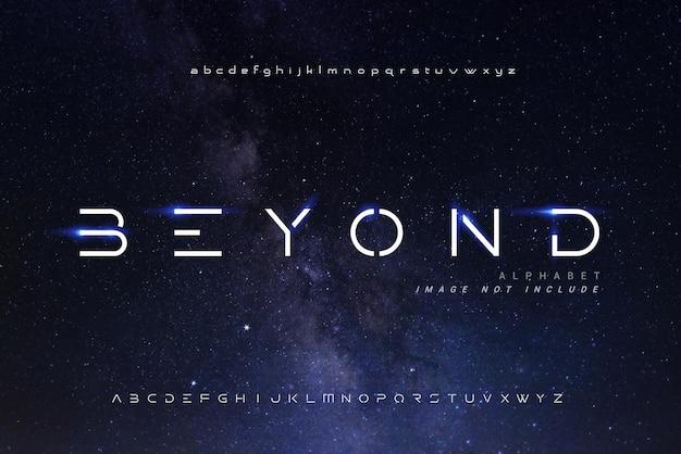 Fontes digitais abstratas do alfabeto moderno com o céu backgrond