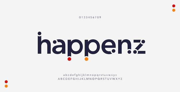 Fontes do alfabeto mínimo moderno abstrato. estilo urbano de tipografia para diversão, esporte, tecnologia, moda, fonte de logotipo criativo digital, futuro.