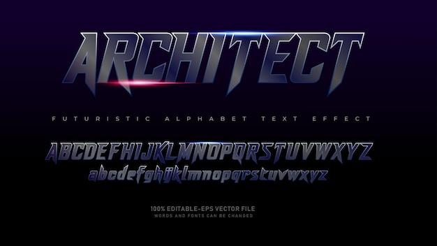 Fontes do alfabeto moderno arquiteto futurista com efeito de texto