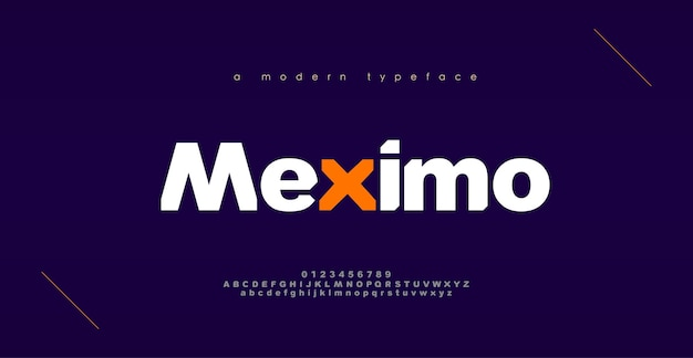 Fontes do alfabeto moderno de esporte abstrato. design de tipo de letra em negrito de tipografia para esporte, tecnologia, moda, digital, fonte de logotipo criativo do futuro.
