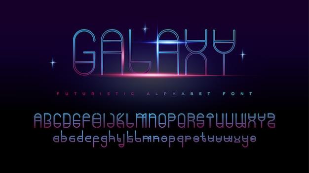 Fontes do alfabeto moderno futurista da galáxia com efeito de texto