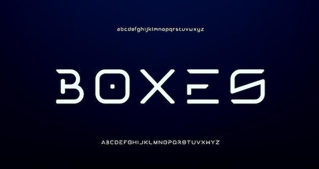 Fontes do alfabeto moderno futurista digital abstrato