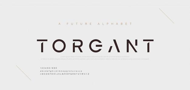 Fontes do alfabeto moderno mínimo abstrato. tipografia tecnologia música digital eletrônica futura fonte criativa.