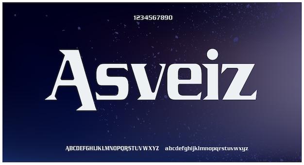 Fontes e números elegantes e esportivos com letras do alfabeto