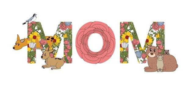 Fontes para o design gráfico de ilustração vetorial de dia das mães