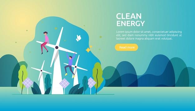 Fontes renováveis de energia elétrica verde e conceito ambiental limpo